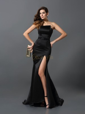 Black Satin Strapless Sheath/Column Floor-Length Evening Dresses