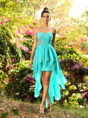 Blue Chiffon Sweetheart A-Line/Princess Asymmetrical Bridesmaid Dresses