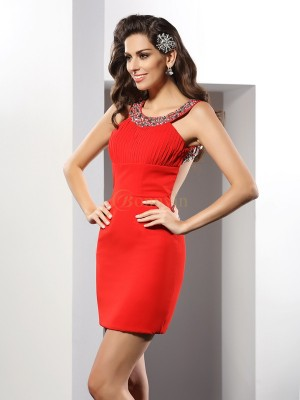 Red Chiffon Scoop Sheath/Column Short/Mini Dresses