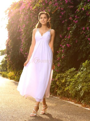 White Chiffon V-neck A-Line/Princess Ankle-Length Wedding Dresses