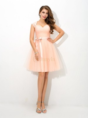 Pearl Pink Net Straps A-Line/Princess Short/Mini Bridesmaid Dresses