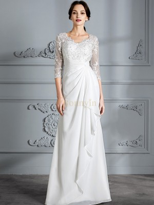 Ivory Chiffon V-neck Sheath/Column Floor-Length Wedding Dresses