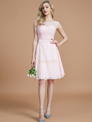 Pink Chiffon Bateau A-Line/Princess Short/Mini Bridesmaid Dresses