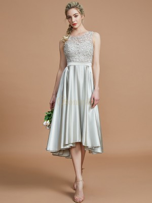 Silver Silk like Satin Bateau A-Line/Princess Asymmetrical Bridesmaid Dresses