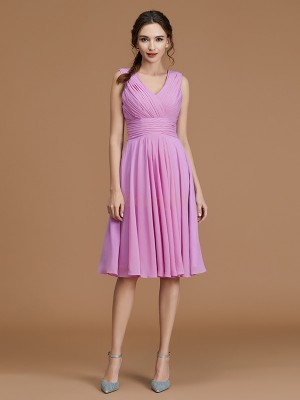 Fuchsia Chiffon V-neck A-Line/Princess Short/Mini Bridesmaid Dresses