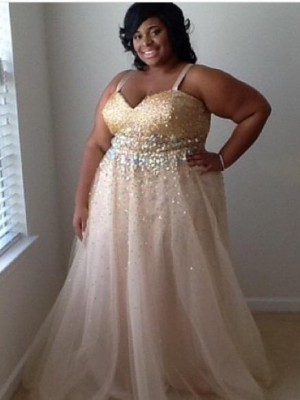 Champagne Tulle Spaghetti Straps A-Line/Princess Floor-Length Plus Size Dresses