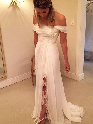 Ivory Chiffon Off-the-Shoulder A-Line/Princess Sweep/Brush Train Wedding Dresses