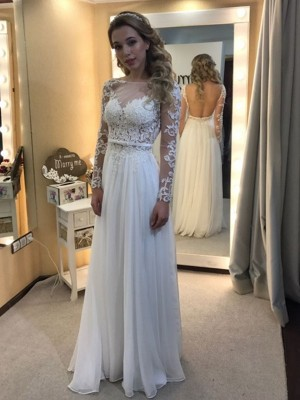 White Chiffon Bateau A-Line/Princess Floor-Length Wedding Dresses