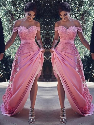 Pink Silk like Satin Off-the-Shoulder Sheath/Column Sweep/Brush Train Dresses