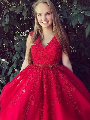 Red Tulle V-Neck A-Line/Princess Sweep/Brush Train Dresses