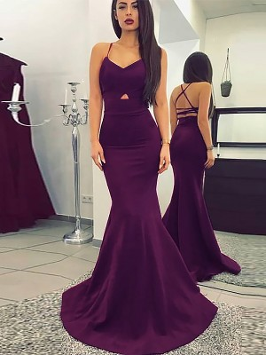 Grape Satin Spaghetti Straps Trumpet/Mermaid Sweep/Brush Train Dresses