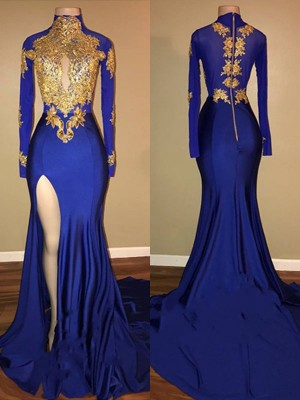 Royal Blue Spandex High Neck Trumpet/Mermaid Sweep/Brush Train Dresses