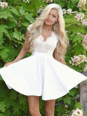 White Satin V-neck A-Line/Princess Short/Mini Dresses