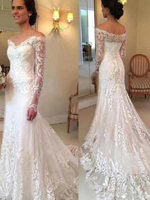 Ivory Lace Off-the-Shoulder Trumpet/Mermaid Court Train Wedding Dresses