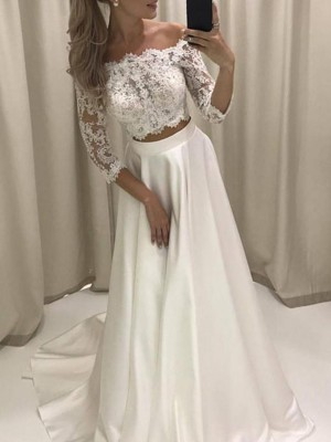 Ivory Satin Off-the-Shoulder A-Line/Princess Court Train Wedding Dresses