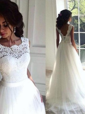 White Tulle Bateau A-Line/Princess Sweep/Brush Train Wedding Dresses