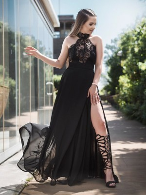 Black Chiffon Halter A-Line/Princess Floor-Length Dresses