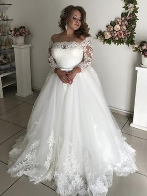 White Tulle Off-the-Shoulder A-Line/Princess Sweep/Brush Train Wedding Dresses