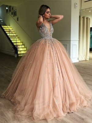 Pink Tulle V-neck Ball Gown Floor-Length Dresses