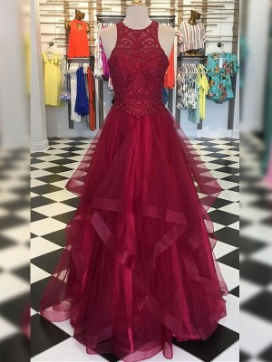 Burgundy Organza Scoop A-Line/Princess Floor-Length Dresses