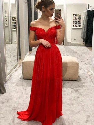 Red Chiffon Off-the-Shoulder A-Line/Princess Floor-Length Dresses