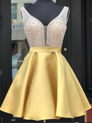 Yellow Satin V-neck A-Line/Princess Short/Mini Dresses