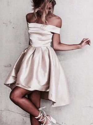 Champagne Satin Off-the-Shoulder A-line/Princess Short/Mini Dresses