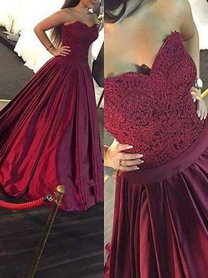 Burgundy Satin Sweetheart Ball Gown Floor-Length Dresses