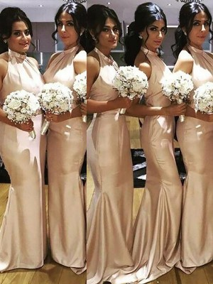Champagne Satin Halter Trumpet/Mermaid Sweep/Brush Train Bridesmaid Dresses