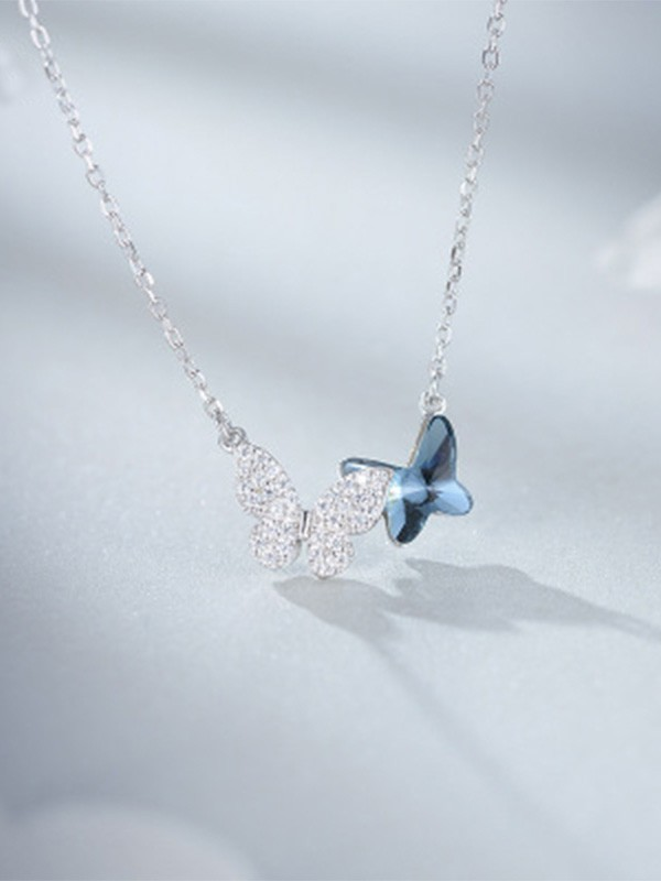 Simple S925 Silver With Butterfly Women Necklaces