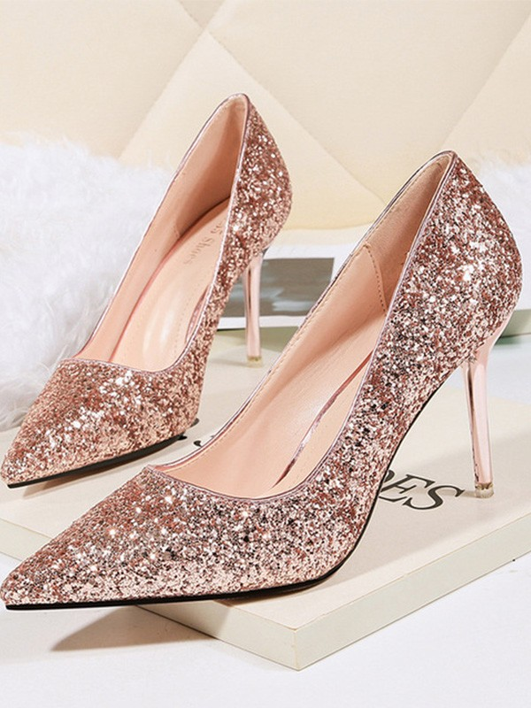 Women Stiletto Heel Sparkling Glitter Closed Toe High Heels