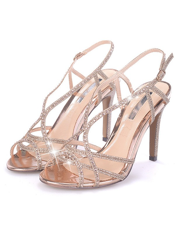 Women Rhinestone Stiletto Heel Peep Toe Sandals