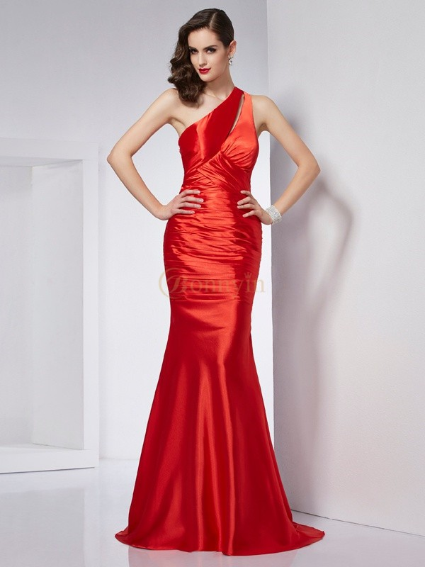 Red Elastic Woven Satin One-Shoulder Sheath/Column Sweep/Brush Train Dresses