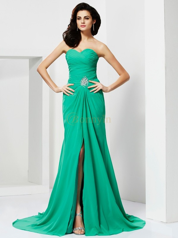 Green Chiffon Sweetheart Sheath/Column Sweep/Brush Train Dresses