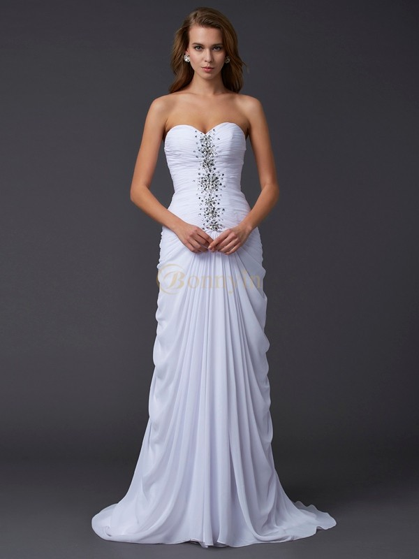 White Chiffon Sweetheart Sheath/Column Sweep/Brush Train Dresses