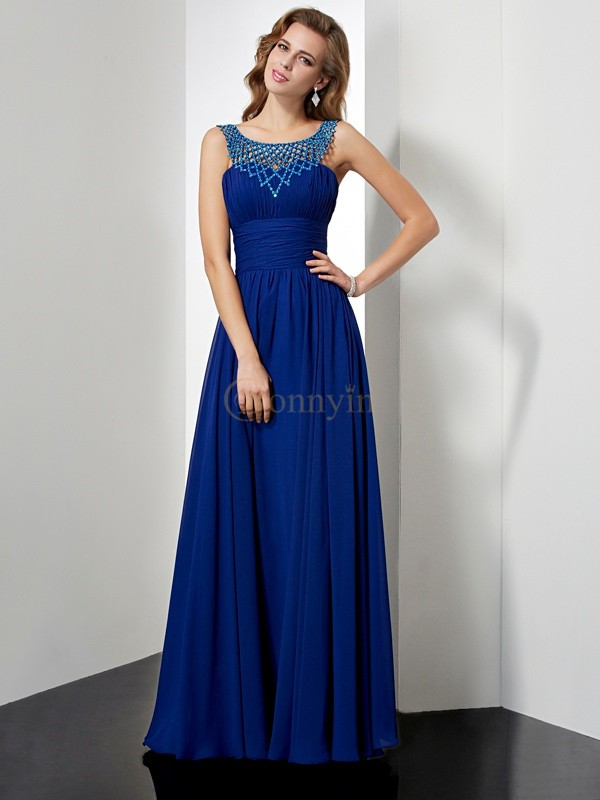 Royal Blue Chiffon High Neck Empire Floor-Length Dresses