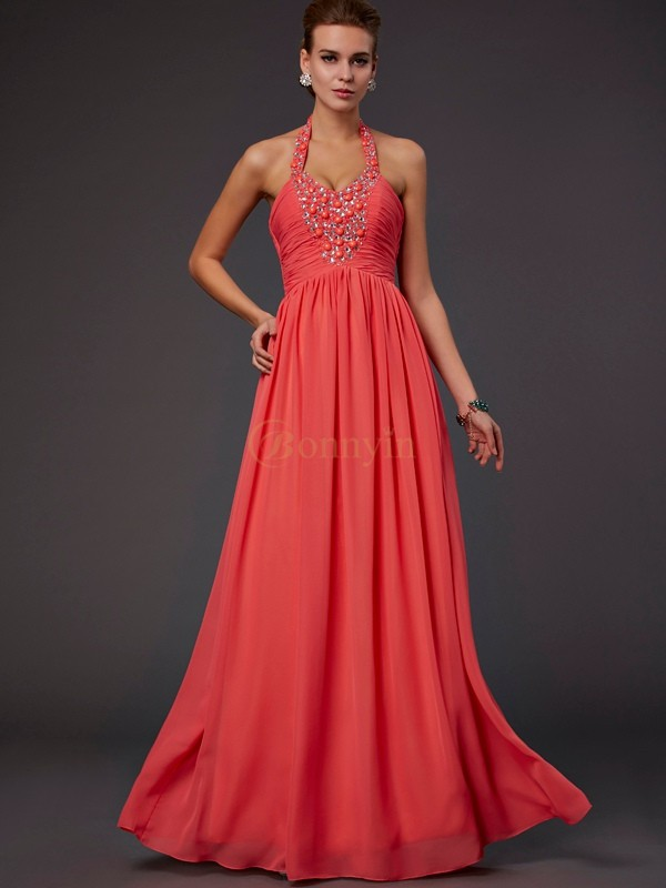 Watermelon Chiffon Halter A-Line/Princess Floor-Length Dresses