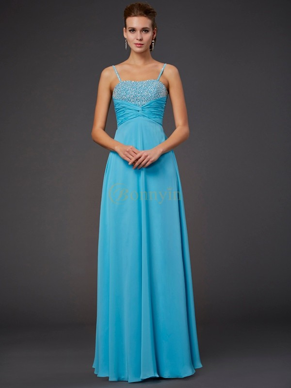 Blue Chiffon Spaghetti Straps A-Line/Princess Floor-Length Dresses