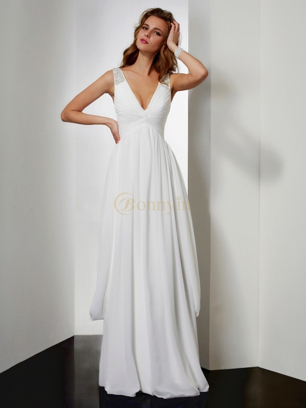 Ivory Chiffon V-neck A-Line/Princess Floor-Length Dresses