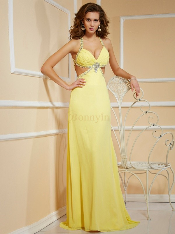 Yellow Chiffon Spaghetti Straps Sheath/Column Floor-Length Dresses