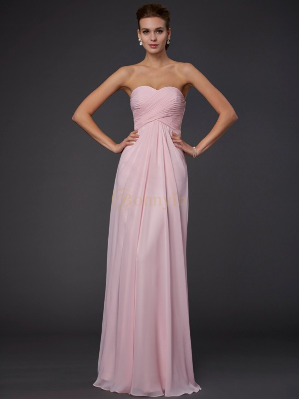 Pink Chiffon Sweetheart Sheath/Column Floor-Length Dresses