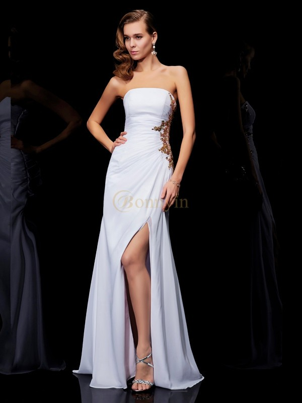 White Chiffon Strapless Sheath/Column Floor-Length Dresses