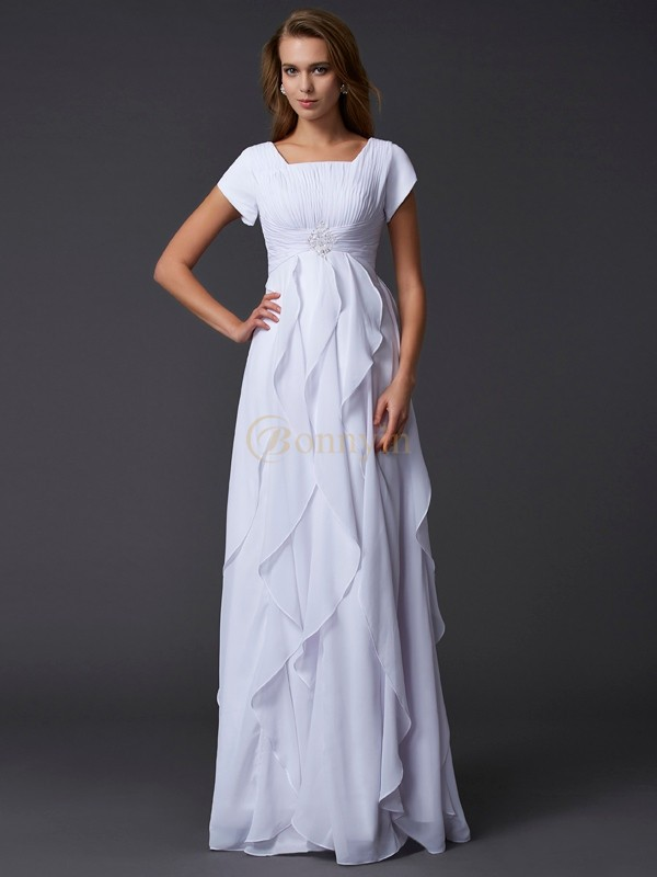 White Chiffon Square Sheath/Column Floor-Length Dresses