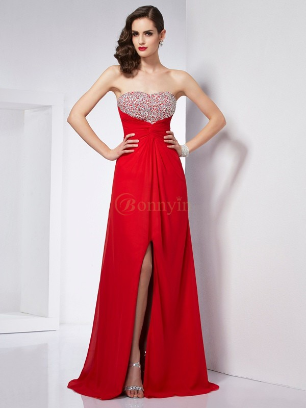 Red Chiffon Strapless A-Line/Princess Floor-Length Dresses