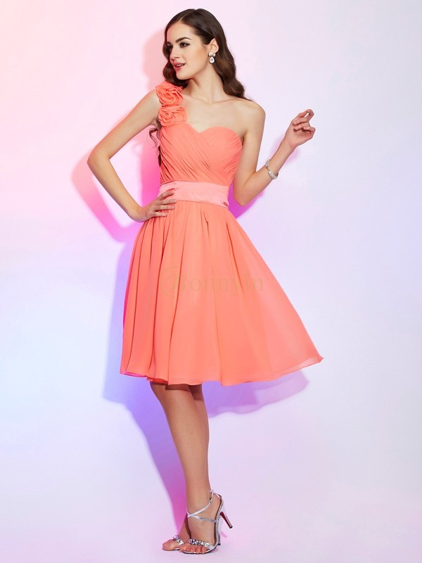 Watermelon Chiffon One-Shoulder A-Line/Princess Knee-Length Bridesmaid Dresses