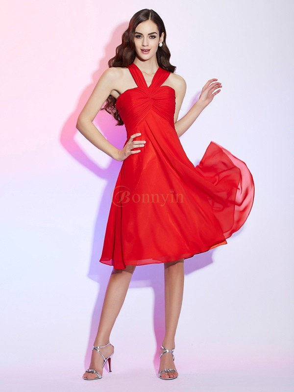Red Chiffon Halter A-Line/Princess Knee-Length Bridesmaid Dresses