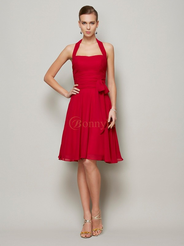 Burgundy Chiffon Halter A-Line/Princess Knee-Length Dresses