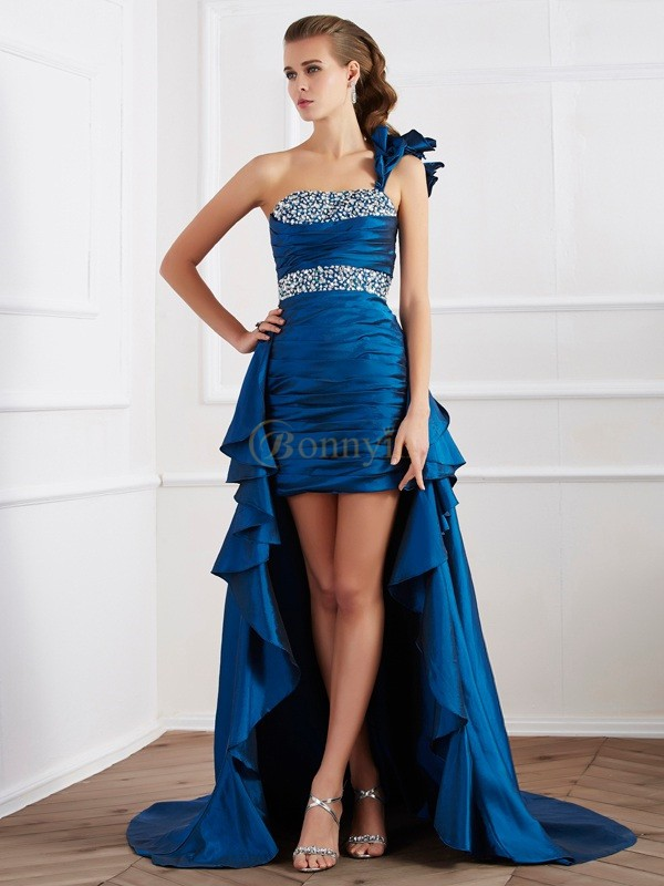 Royal Blue Taffeta One-Shoulder A-Line/Princess Asymmetrical Dresses