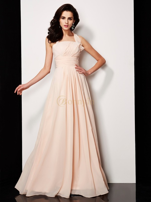 Pearl Pink Chiffon Halter A-Line/Princess Floor-Length Dresses
