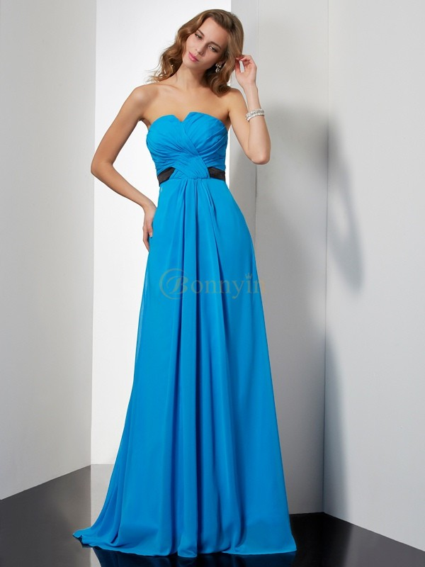 Blue Chiffon Sweetheart A-Line/Princess Sweep/Brush Train Dresses